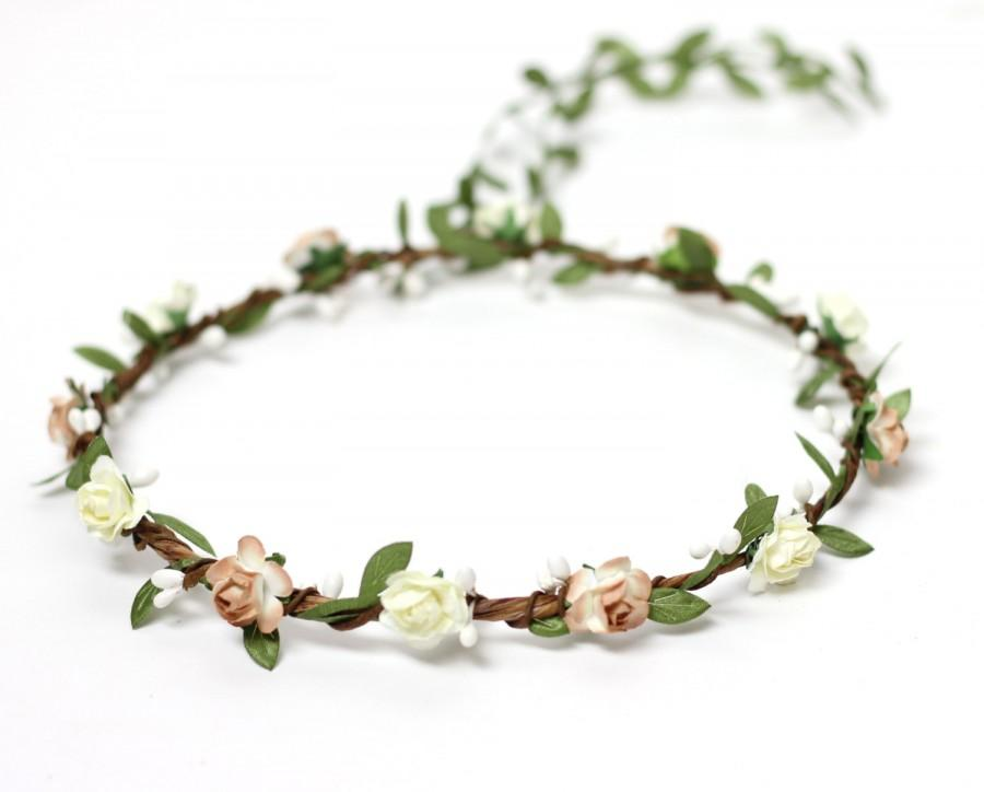 Mariage - Rustic Wedding Flower Crown Blush Flower Girl Woodland Bridal Crown Garland Flower Hair wreath Crown Wedding Accessories Boho Floral Crown