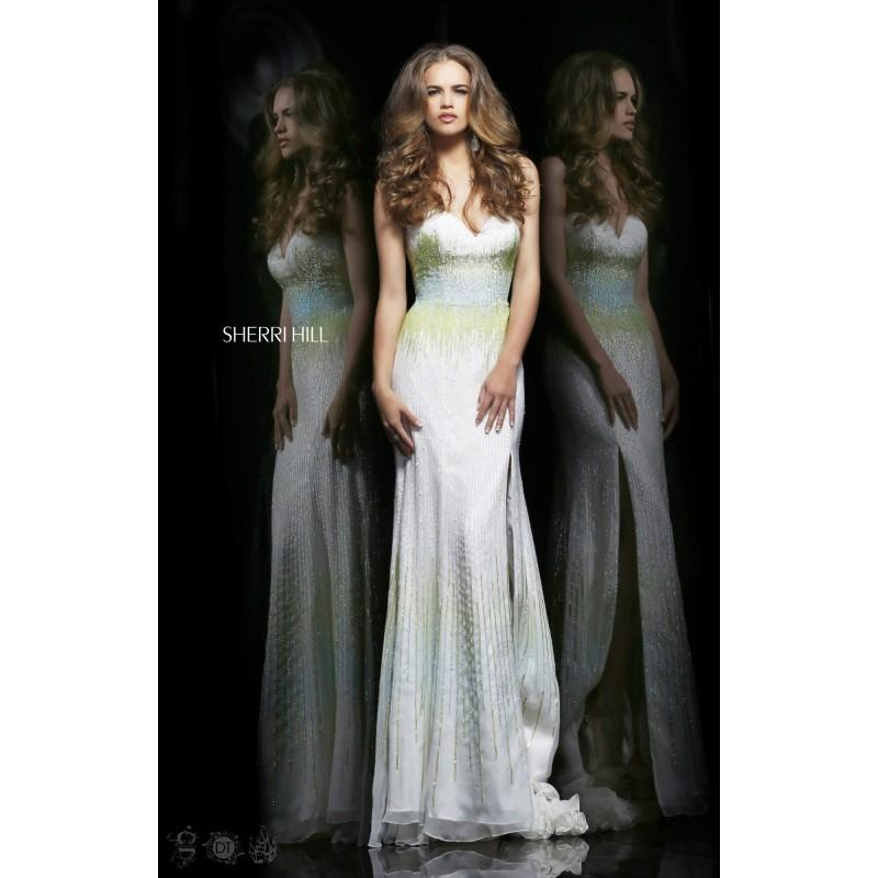Wedding - Ivory/Green/Aqua Sherri Hill 8536 - High Slit Sequin Dress - Customize Your Prom Dress