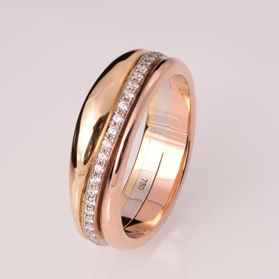 Düğün - Gold and Diamonds Wedding Band, Wedding Ring, Eternity Band, Eternity Ring, Tricolor Ring, Tricolor Band, Wide Band, Engagement ring, 3