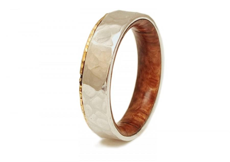 Düğün - Briar Root Wood Ring 18K Gold and Silver - Wood Wedding Band - Hammered gold ring -