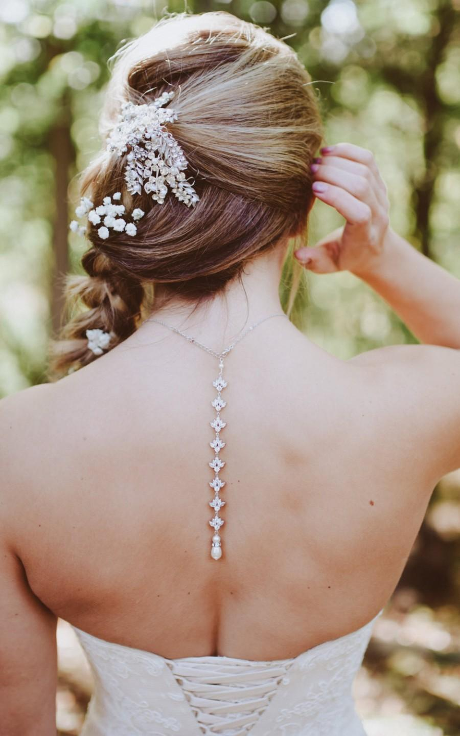 Boda - Back Drop Bridal Necklace, Backdrop Wedding necklace, Bridal jewelry, Swarovski Crystal Drop, Crystal Back Drop necklace, Simple, EMMA