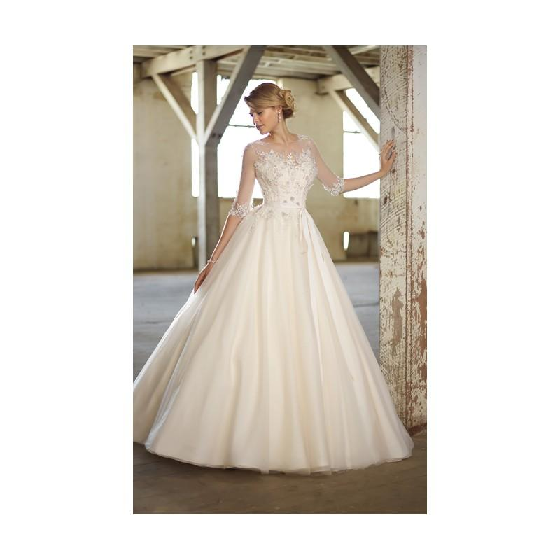 Düğün - Charming A-line Bateau Beading&Crystal Detailing Lace Sweep/Brush Train Tulle Wedding Dresses - Dressesular.com