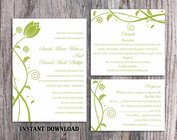 Boda - DIY Wedding Invitation Template Set Editable Word File Instant Download Printable Invitations Green Wedding Invitations Flower Invitation - $15.90 USD