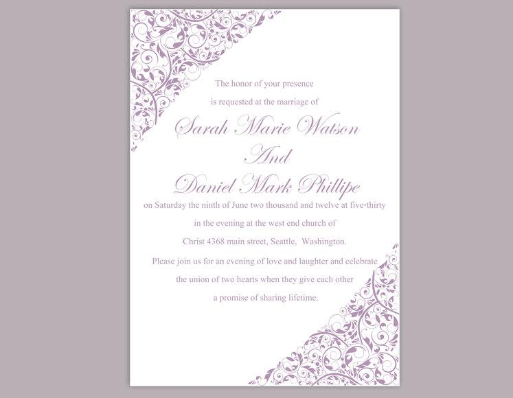 Boda - Wedding Invitation Template Download Printable Wedding Invitations Editable Invite Purple Wedding Invitation Elegant Lavender Invitation DIY - $6.90 USD