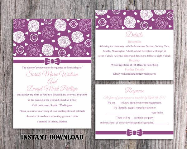 Wedding - Wedding Invitation Template Download Printable Invitations Editable Purple Invitation Floral Boho Wedding Invitation Rose Invitation DIY - $15.90 USD