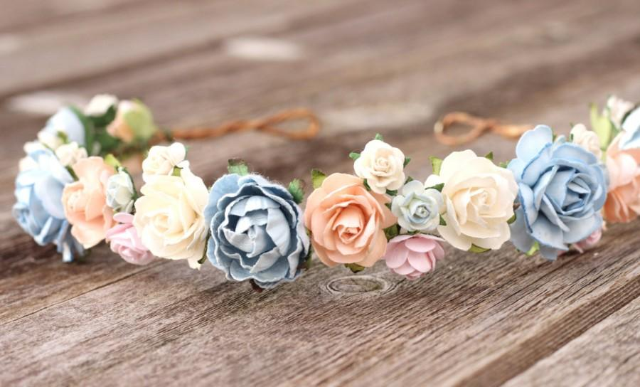 Düğün - Bridal Floral Crown Dusty Pink Flower Crown Blue Wedding Hair Crown Ivory Head Wreath Peach Wedding Flower Crown Hair Garland Girls Halo