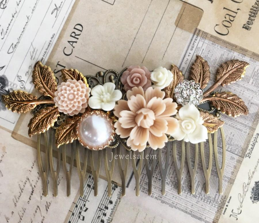 Boda - Bridal Hair Comb Wedding Headpiece Floral Hair Adornment Romantic Neutral Wedding Theme Tan Hair Slide Statement Decorative Comb