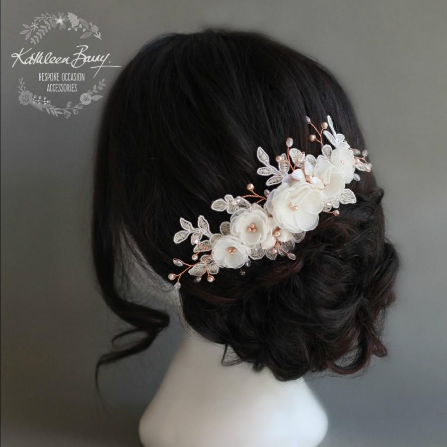 Hochzeit - Floral Lace Rose Gold Bridal hair veil comb, Luxury handmade flowers, Crystals and Pearls, Wedding hair accessories STYLE: Lee