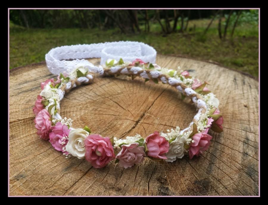 Boda - pink rose crown, rustic flower crown, flower girl crown, flower crown with lace, pearls, babies breath, small flower crown, flower crown