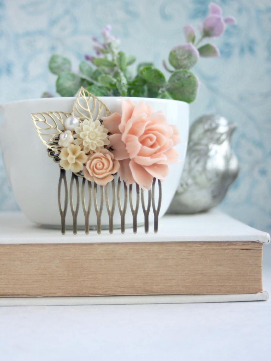 Mariage - Pink Peach Flower Comb, Pink Rose, Ivory, Gold Leaves, Peach Flower Comb. Bridesmaids Gift, Rustic Pink Ivory Wedding. Spring Wedding Comb