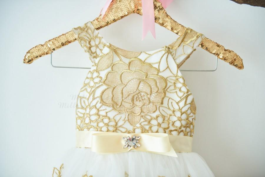 Mariage - Ivory / Gold Lace Tulle Flower Girl Dress Junior Bridesmaid Wedding Party Dress M0054