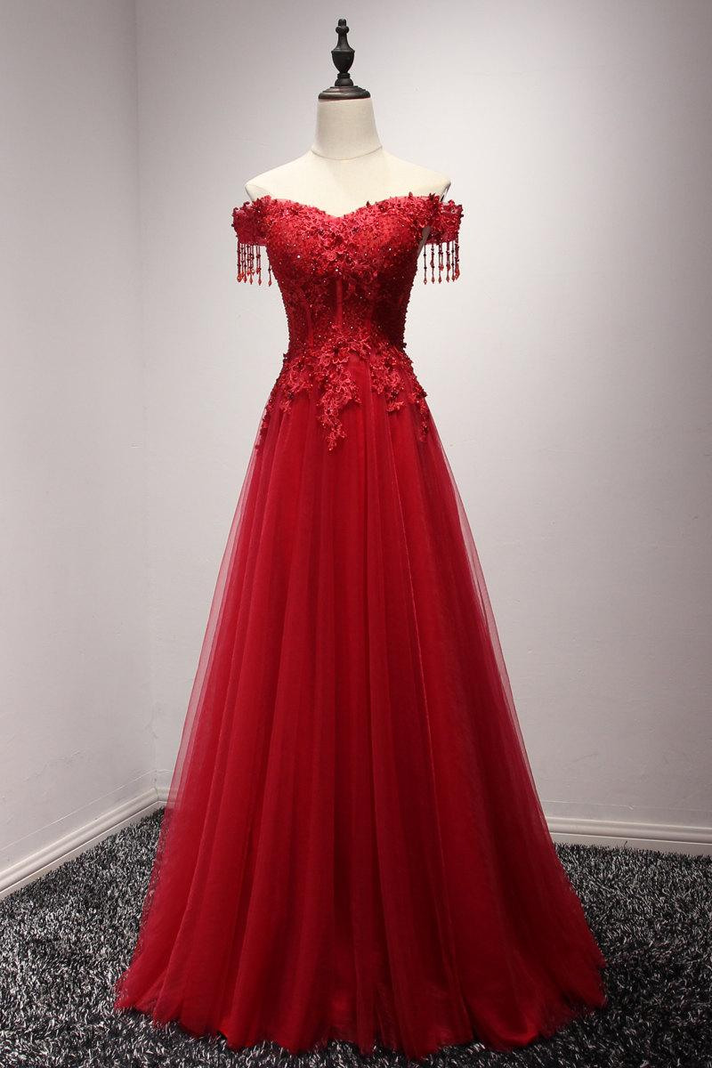 Düğün - Burgundy Wine Red Off Shoulder Long Prom Dress 2017 Custom Made Dress Women Formal Evening Gown Luxury Crystal Dress Bride Gown Formal Dress