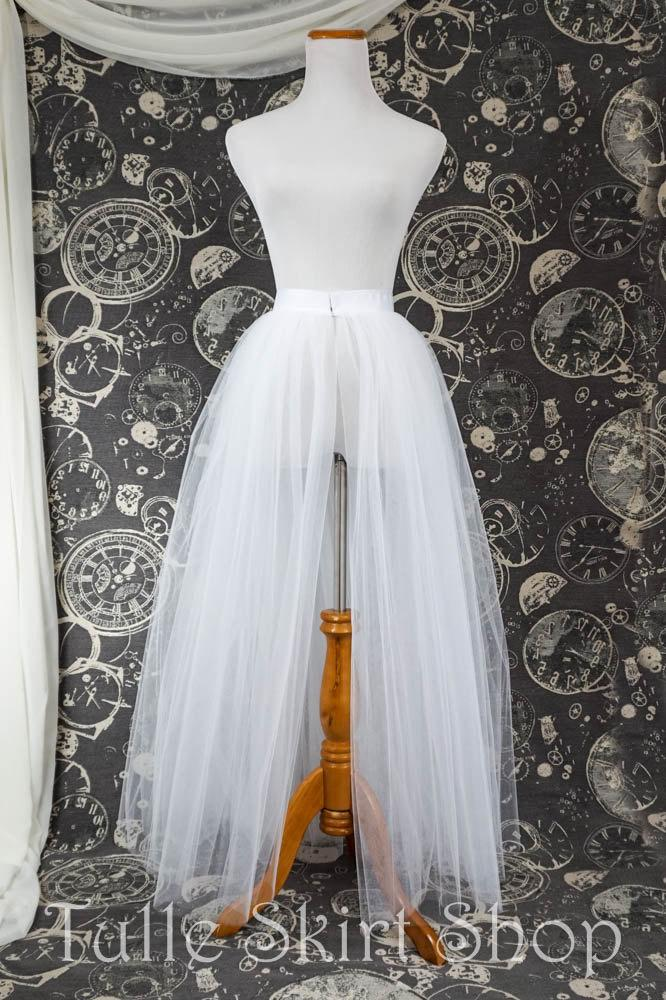 Hochzeit - White Tulle Over Skirt with Slit - Adult Full Length Tutu, Wedding Skirt Overlay with Ribbon Waist - Custom Made to Your Measurements