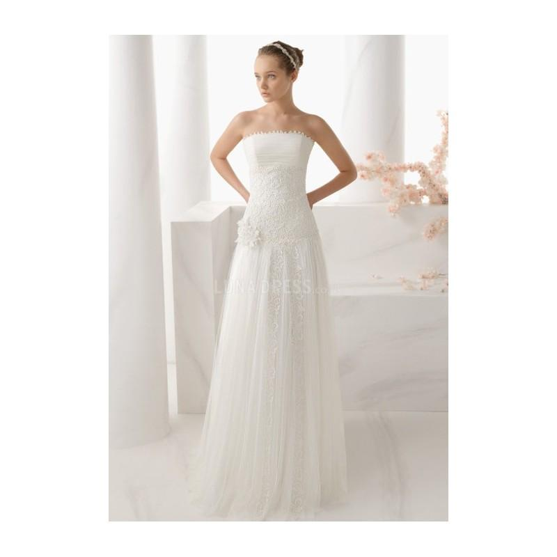 Hochzeit - A line Strapless Tulle & Lace Floor Length Chapel Train Wedding Dress With Appliques - Compelling Wedding Dresses
