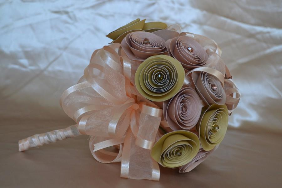 Mariage - Wedding Paper Bouquet Warm Colors with Crystals