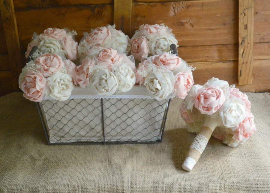Mariage - Bridal Wedding Bouquet Blush Bride Bridesmaid Bouquets set Shabby Chic Rustic Romance Peony Flowers Wedding Party Pink