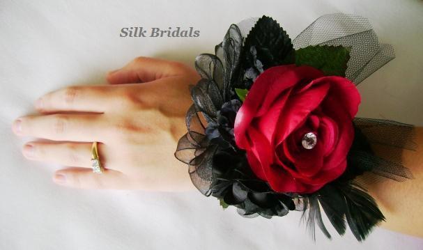Свадьба - Silk RED Black Roses WRIST CORSAGE Bridal Wedding Flowers Mothers