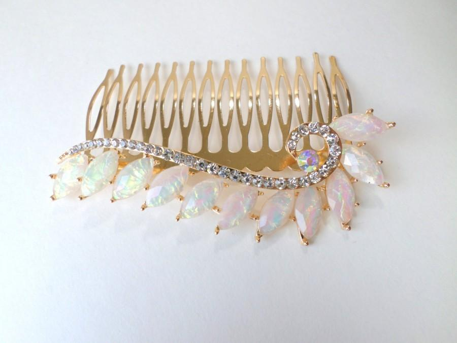 Mariage - Opal Hair Comb Large Gold Crystal Opal Hair Comb Wide Opalite Hair Accessory Crystal Hair Accessory Decorative Hair Comb