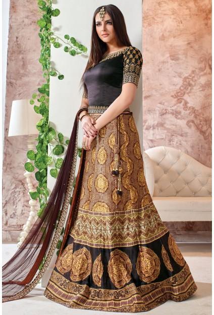 046cc6c001 Coffee Brown And Black Silk Lehenga Choli With Net Duppatta #2684464 ...
