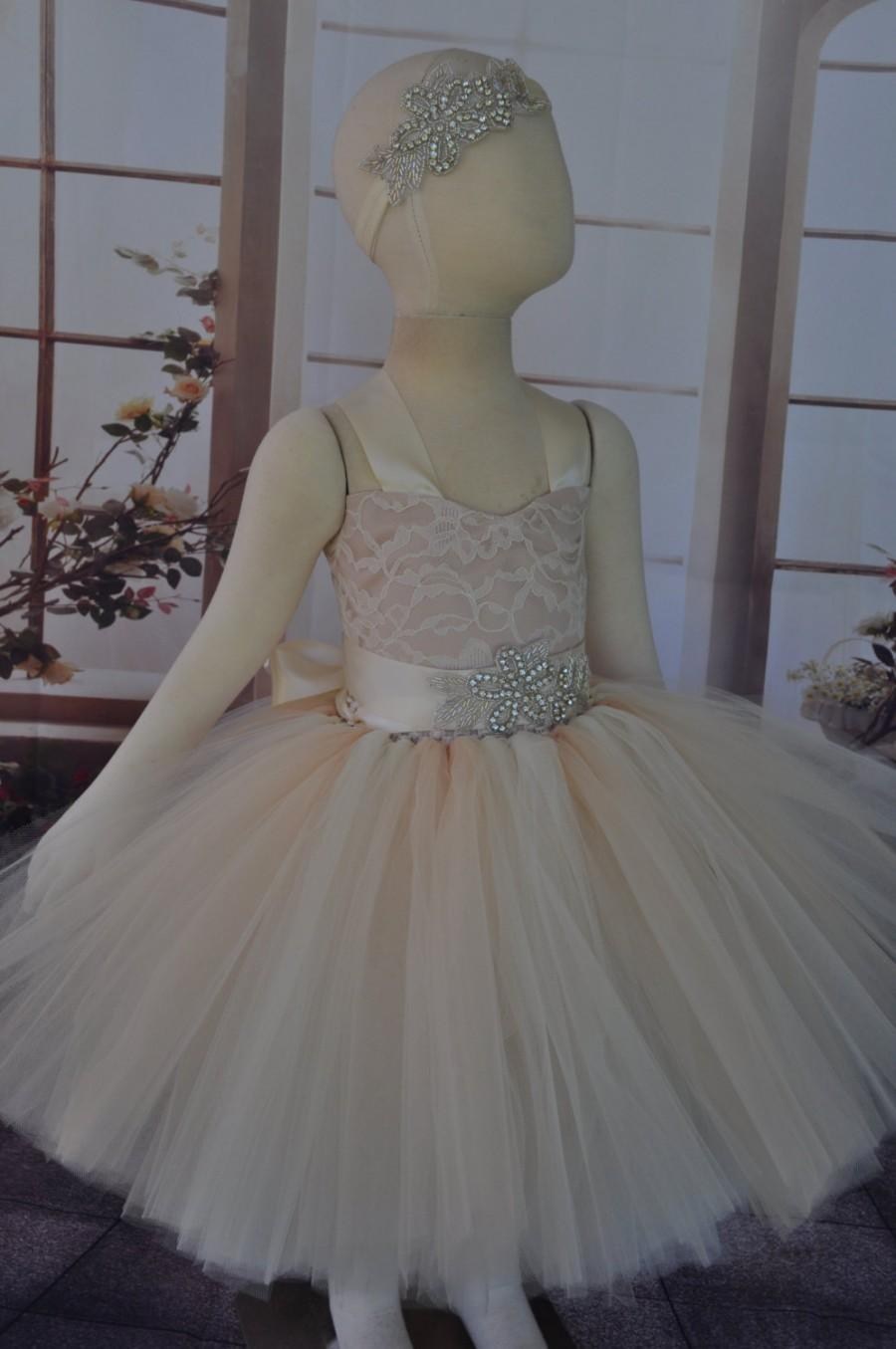 Wedding - Ivory Lace Champagne Flower Girl Dress, Lace Ivory Champagne Toddler Dress, Vintage Inspired Flower Girl, Ivory Champagne Baby Dress,