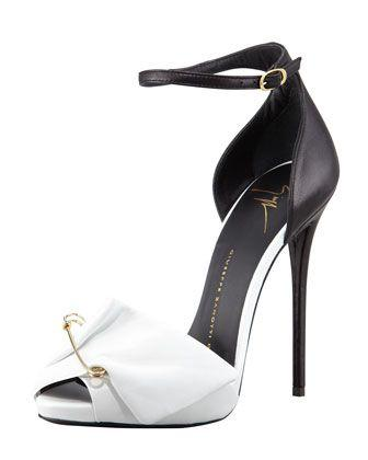 Свадьба - Giuseppe Zanotti Safety Pin Leather Sandal, Black/White
