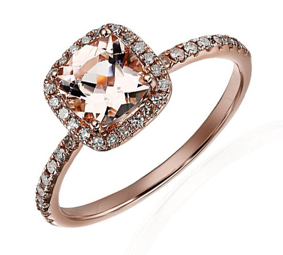 Wedding - Limited Time Sale: 1.25 Carat Peach Pink Morganite and Diamond Engagement Ring in 10k Rose Gold
