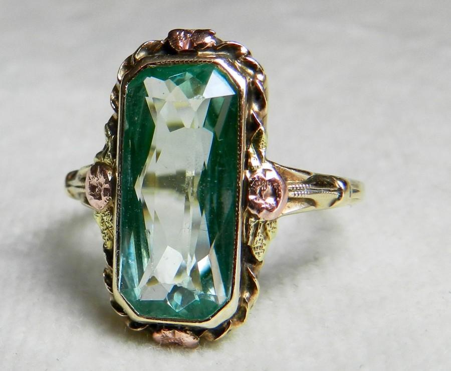 1930 S Art Deco Ring Unique Engagement Ring Vaseline Glass