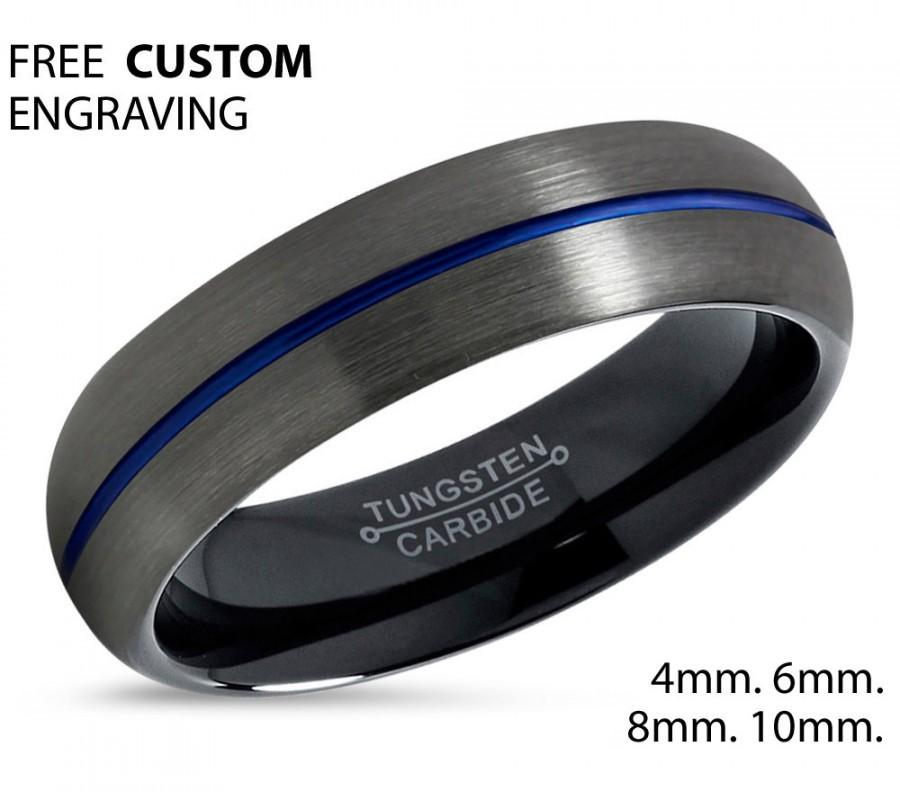 Mariage - GUNMETAL BLUE Tungsten Ring Black Wedding Band Ring Tungsten Carbide 6mm Ring Man Wedding Band Male Women Anniversary Matching