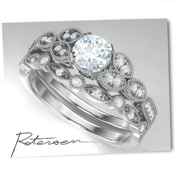 Hochzeit - Engagement Ring Set - Wedding Ring Set - Vintage, White Gold, Silver, Sterling Silver,