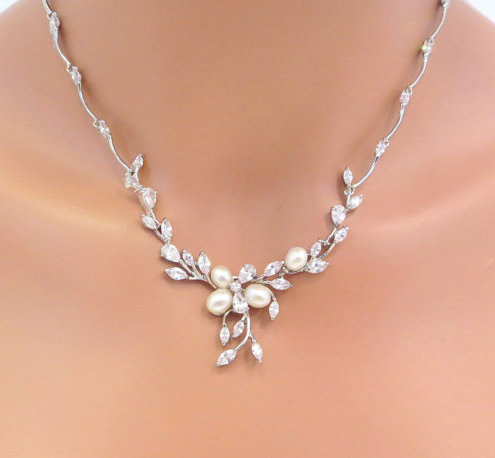 Wedding - Bridal pearl and rhinestone jewelry set, Freshwater pearl necklace and earrings, Wedding jewelry, Cubic zirconia jewelry