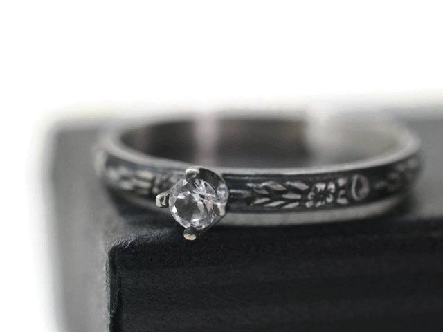 Wedding - White Sapphire Engagement Ring, Oxidized Silver Dainty Gothic Floral Band, 3mm Natural Crystal Promise or Dress Jewelry