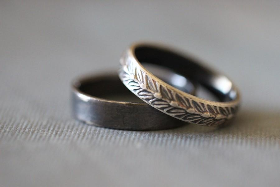 Mariage - SARA: Wedding Rings, Set, Wedding Bands, Sterling Silver, Botanical, Wheat, Modern, Minimal, His and Hers, Rustic, Bohemian,  Made To Order