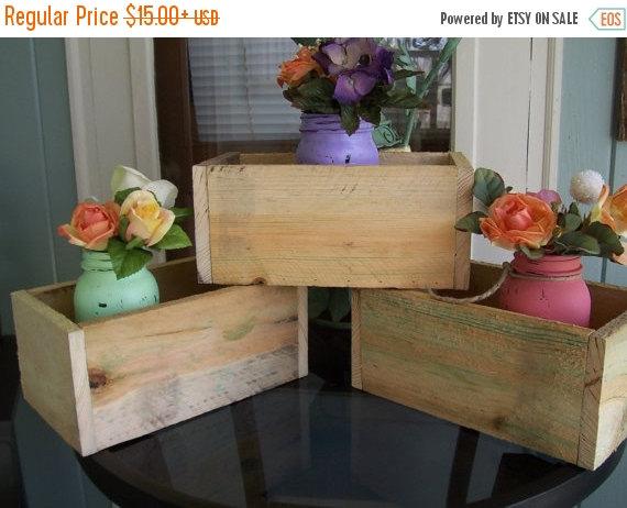 Sale Mason Jar Centerpieces Holder Garden Planter Box Outdoor Wood
