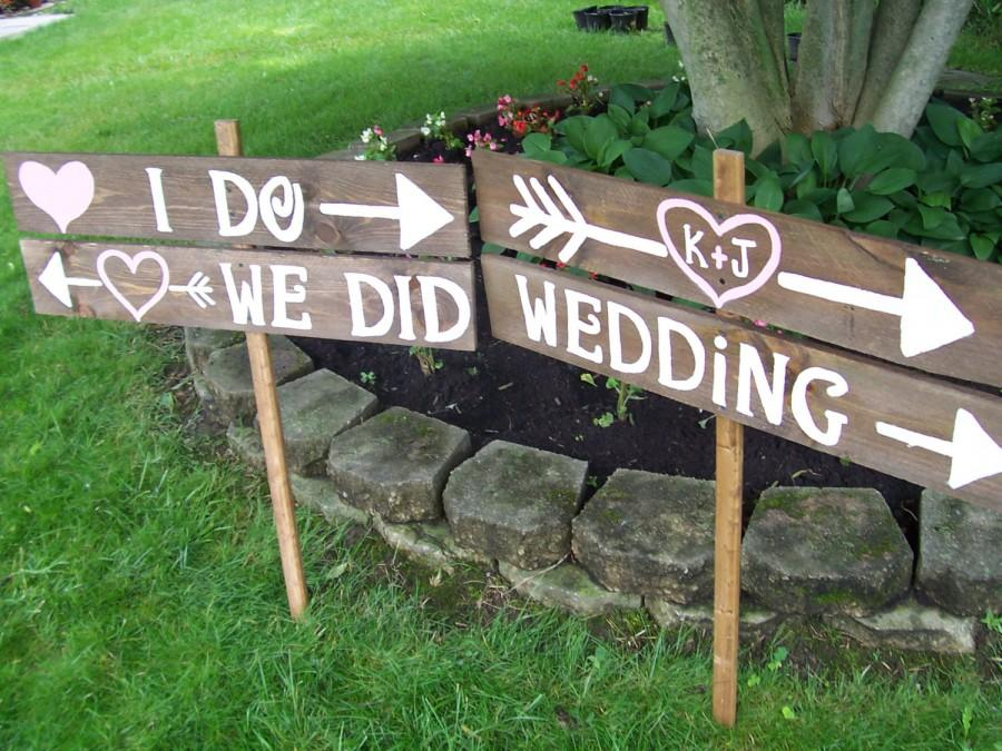 Hochzeit - Wedding Sign I DO WE Did rustic 4 Barn wood Party ceremony decorations reception Signage w/ Stakes country outdoor reclaimed