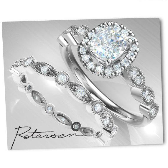 زفاف - 2pcs Wedding Ring Set, Bridal Ring Set , Promise Ring Set Sterling Silver,Art Deco Matching Band,5mm Cushion Stone
