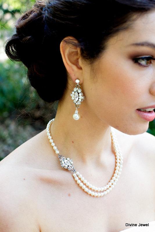 زفاف - ivory swarovski pearl and crystal necklace Statement Bridal necklace Wedding Rhinestone necklace swarovski crystal and pearl necklace GABY