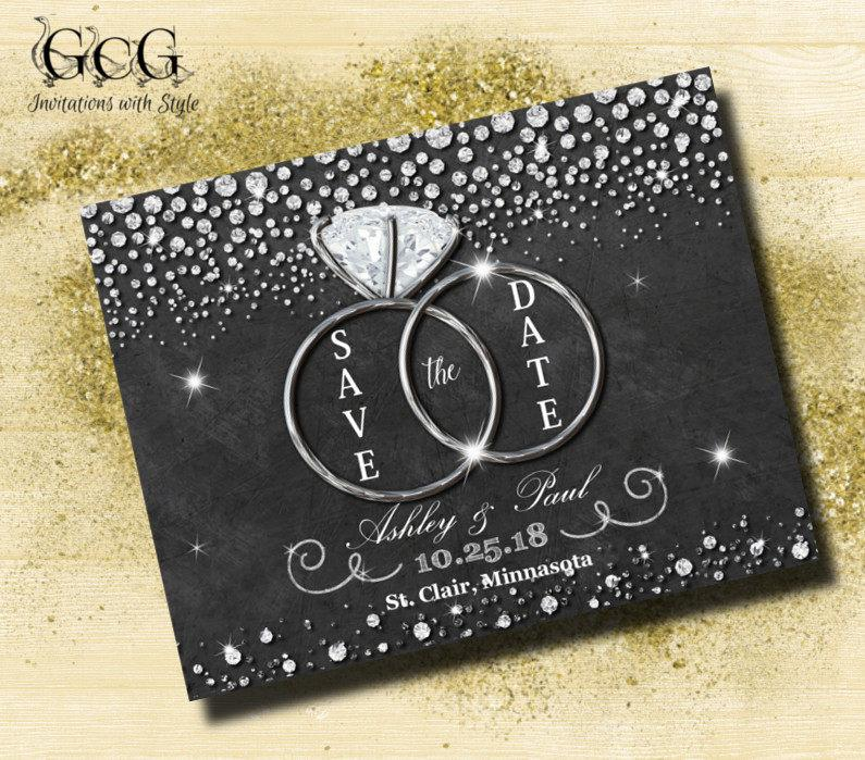 Mariage - Bling Save the Date magnet Diamond Save the date magnets cheap Save the date magnets for wedding Chalkboard Save the Date Diamond ring - $25.00 USD