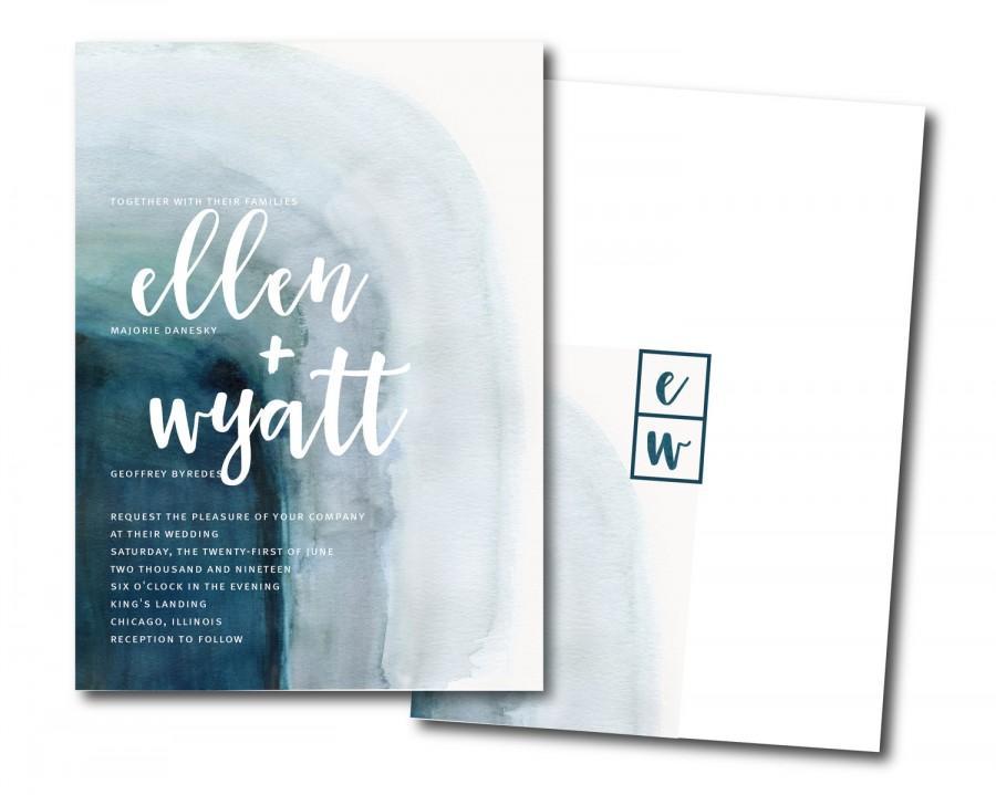 Свадьба - WATERCOLOR Wedding Invitation Set, ombre blue invitation, blue agate Printable Wedding Invitation Suite, ocean Customizable Wedding Invites
