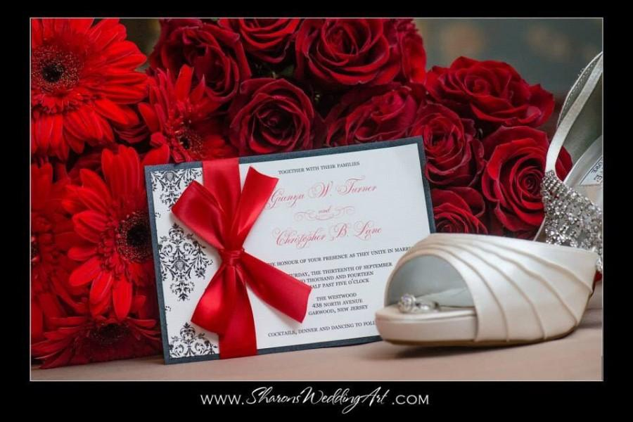 Hochzeit - Red Wedding Invitation, Valentine Invite, Winter Wedding, Damask Pattern, The Jaime Damask Wedding Invitation Sample