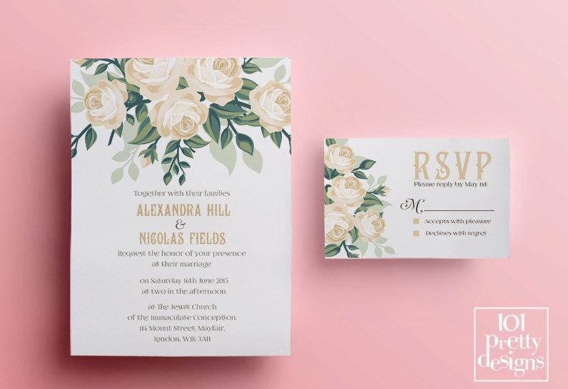 Hochzeit - Floral wedding invitation template, printable wedding invitation design romantic invitation template white roses wedding invitation design