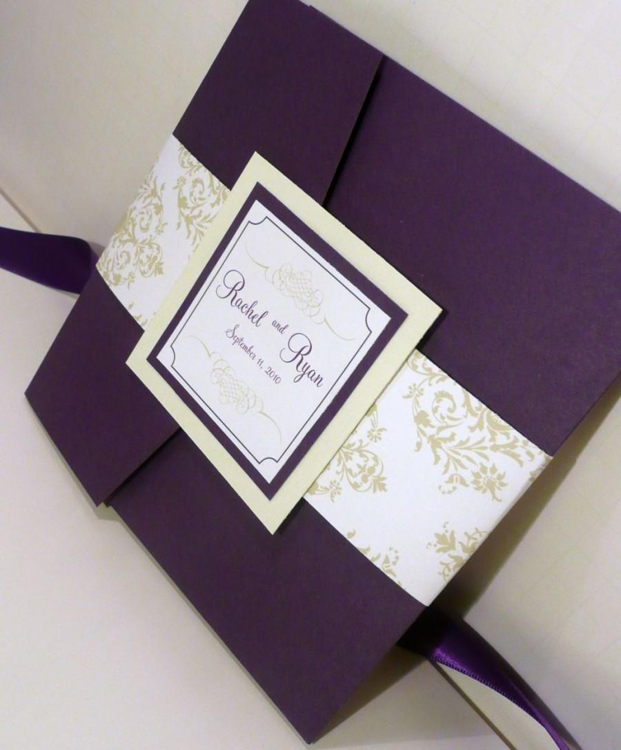 pocketfold wedding invitation dark purple invites mint and