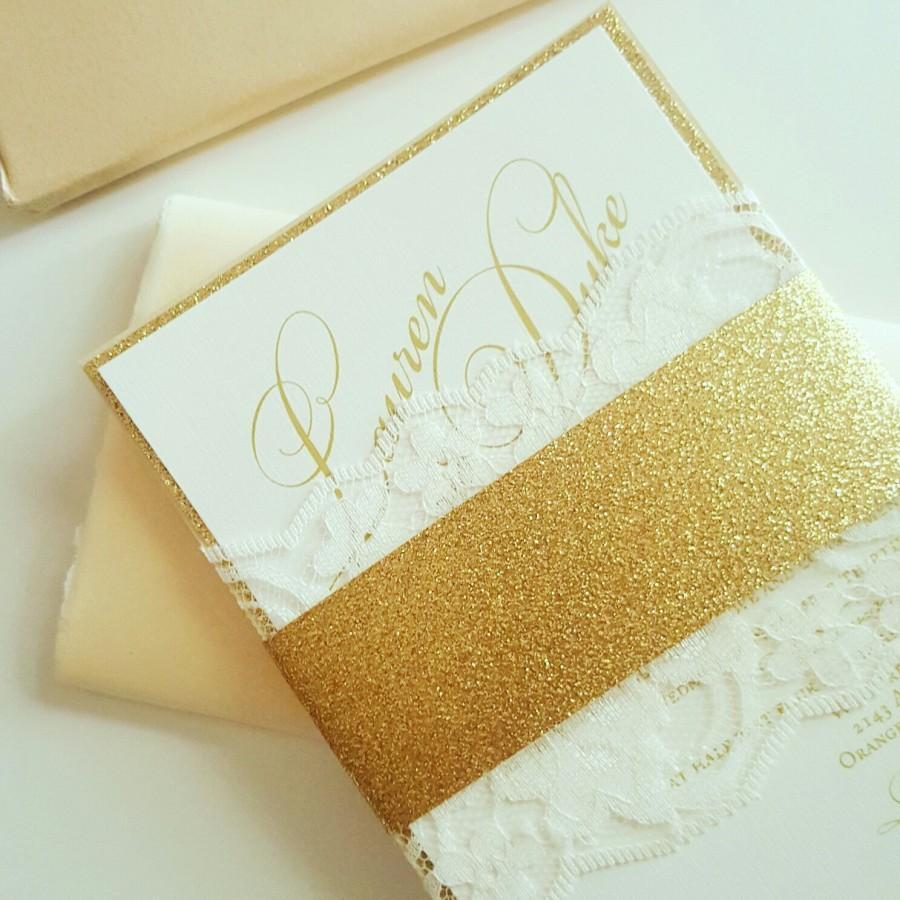Hochzeit - Gold Glitter and Lace Wedding Invitations, Lace Wedding Invitations, Gold Glitter Invites - Gold Glitter & Lace Invitation Sample