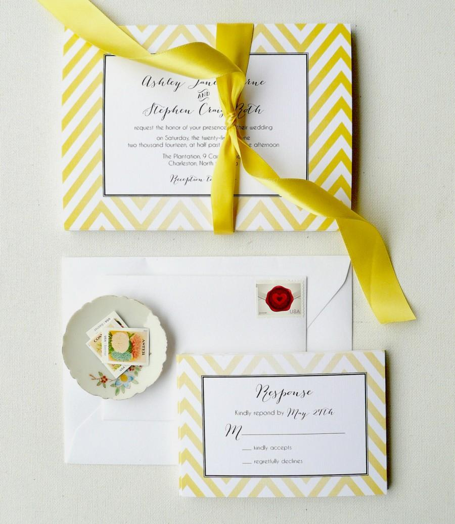 Yellow Wedding Invitations, Chevron Invites, Yellow And Black ...