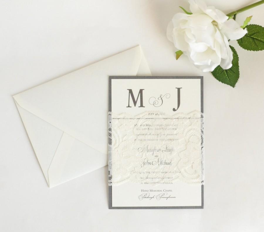 Lace Wedding Invitations, Classic Wedding Invitations, Silver ...