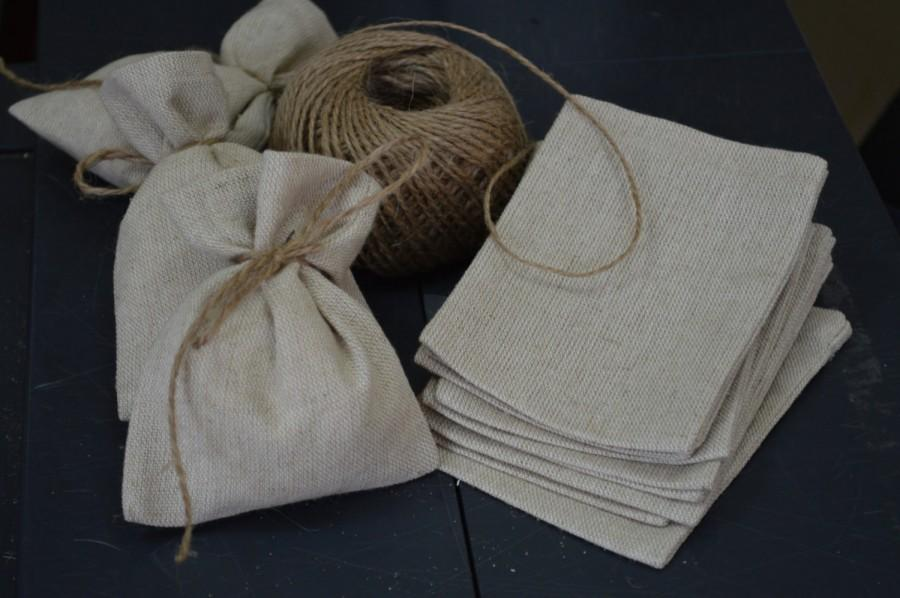 Mariage - SET 90 Rustic Linen Eco Wedding Favors Bag +FREE Shipping