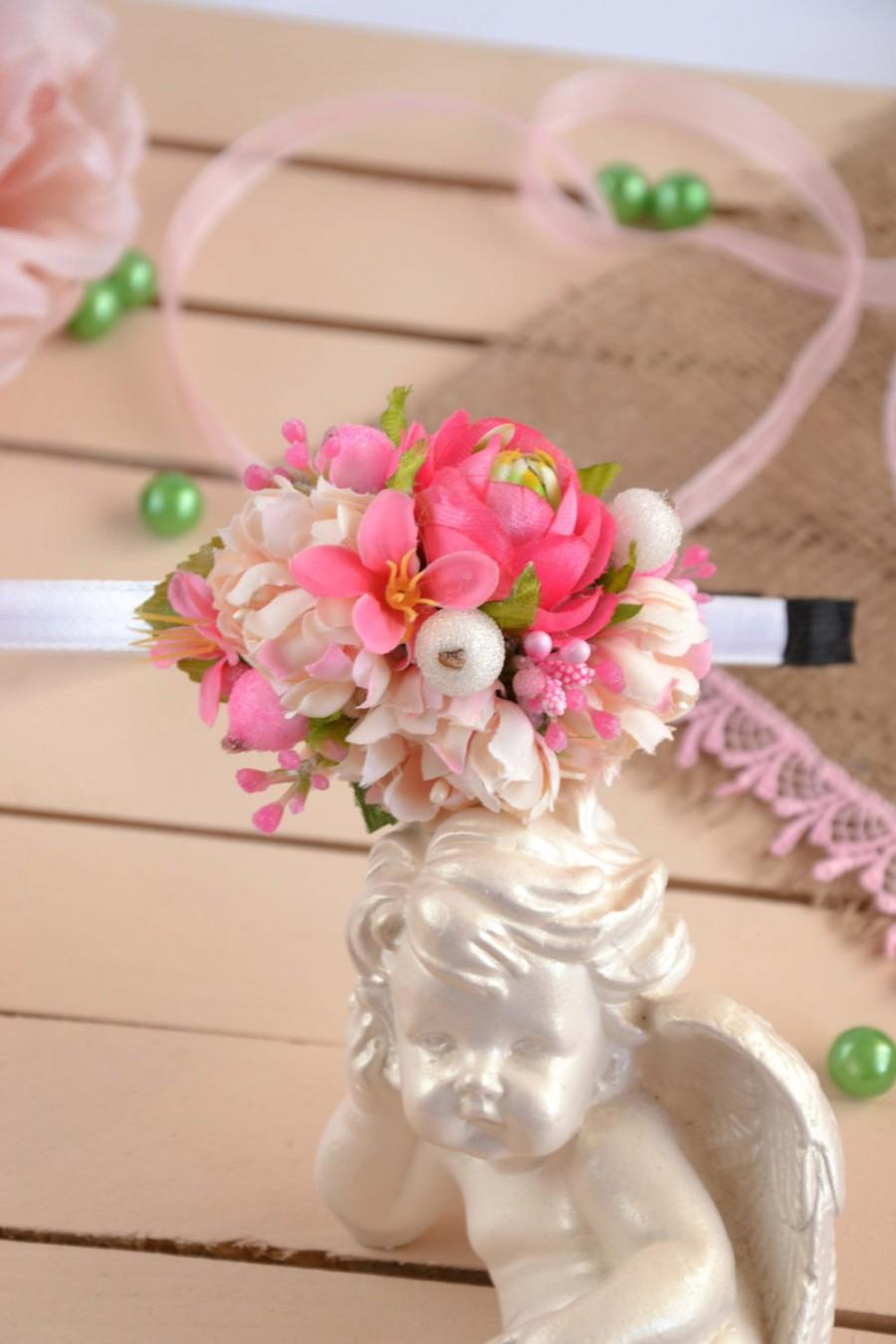 Hochzeit - Flower crown Pink flower headband Flower girl flower crown Flower girl hair accessories Pink floral crown Gift for her Pink hair accessories