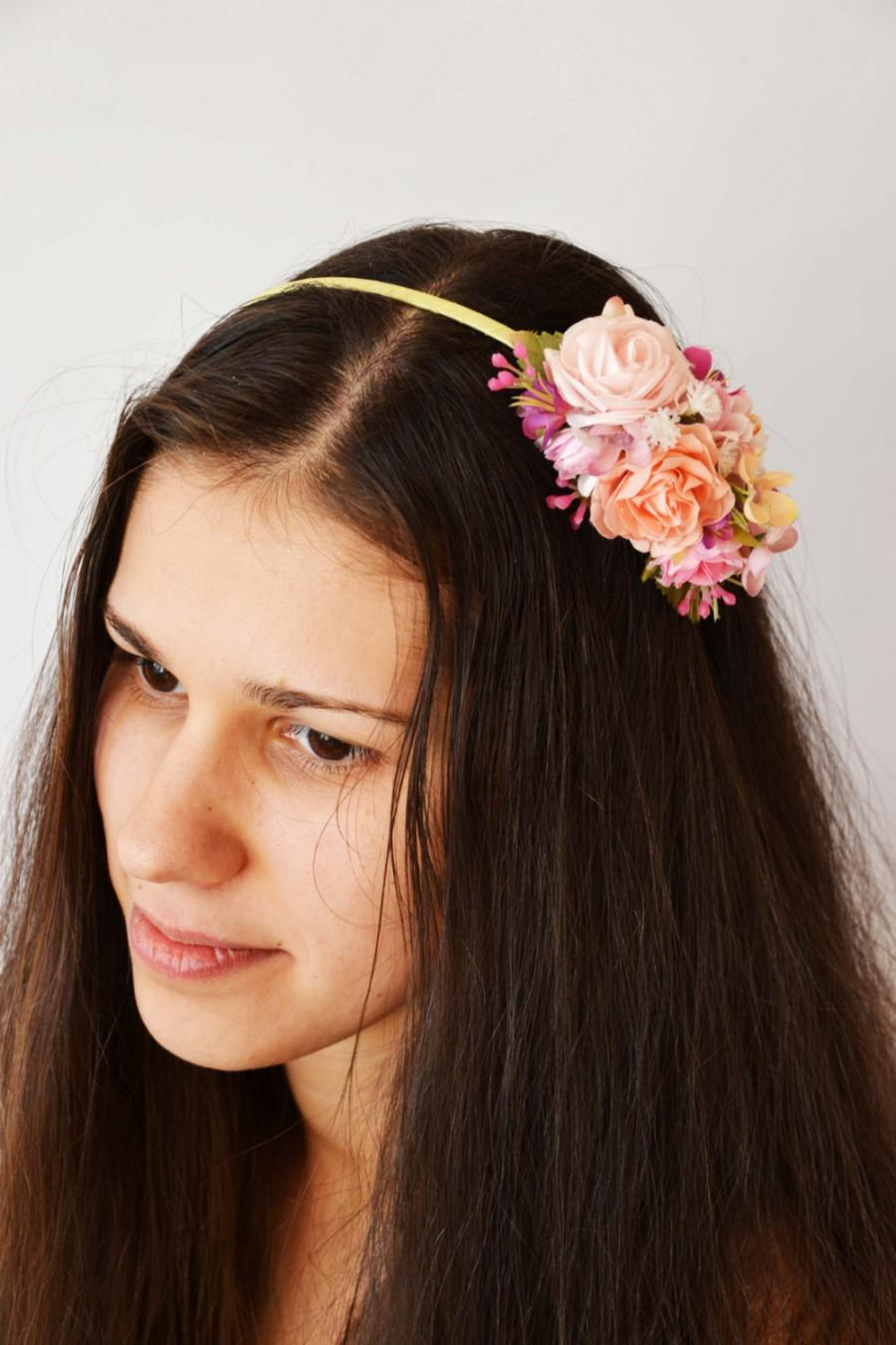 Hochzeit - Wedding Flower headband Pink Wedding halo Pink Bridal headpiece Wedding headband Pink Bridal flower crown Flower girl crown Gift for her