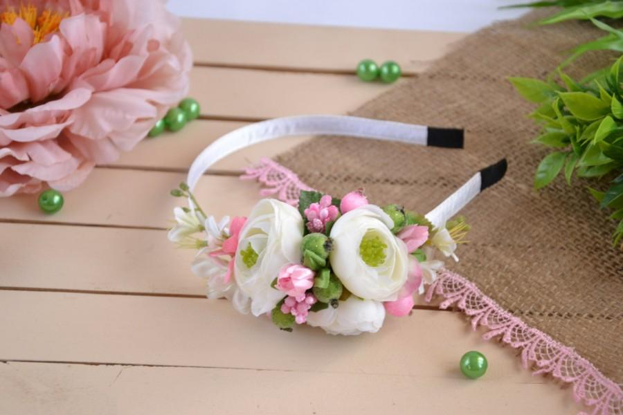 Hochzeit - Flower girl crown Floral crown Flower headband Bridal headband White Pink flower crown Flower girl flower crown Christamas gift for her