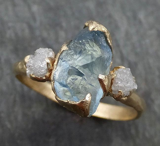 Wedding - Raw Uncut Aquamarine Diamond Gold Engagement Ring Wedding 14k Ring Custom One Of a Kind Gemstone Bespoke Three stone Ring byAngeline 0420