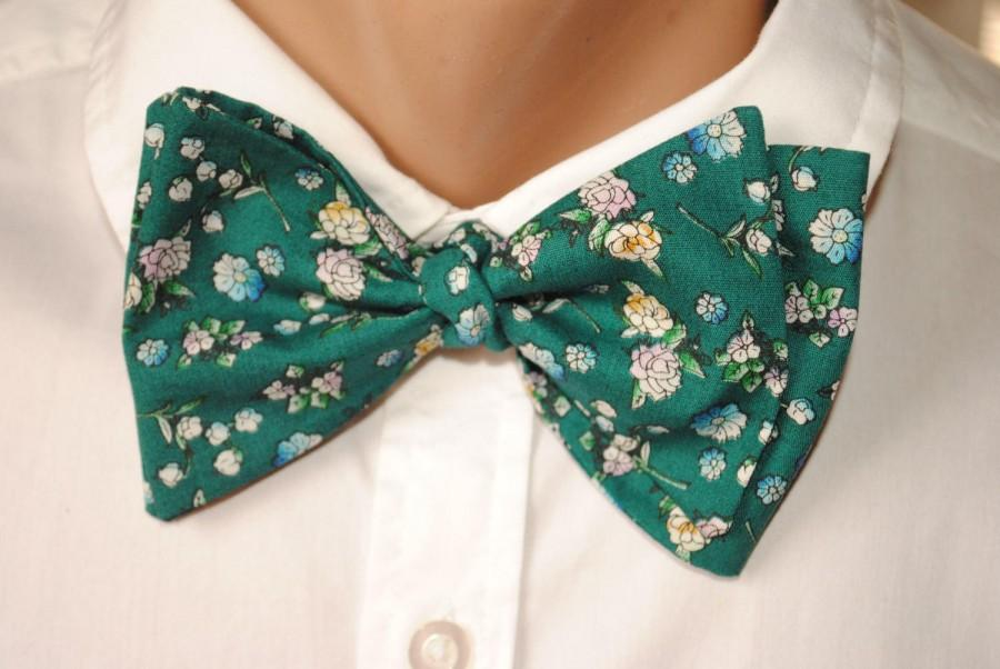 Mariage - for men for women gift for him gift green self tie green bow tie men's bow tie groom's bow tie green pocket square green floral necktie akdj - $10.11 USD